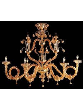 Murano chandelier from Venice 6 amber lights made in italy 7960 6