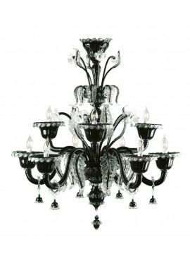 Murano chandelier of modern black Venice 9 lights made in italy 7413 6+3