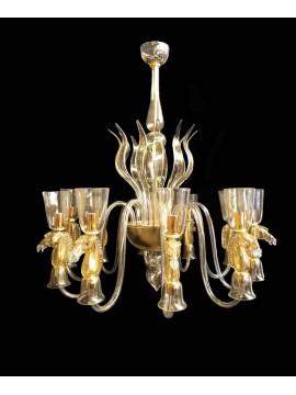 Lampadario murano di venezia oro 24k 10 luci made in italy 8041 10