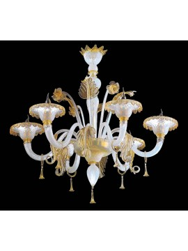 Murano chandelier of Venice 24k gold 6 lights made in italy 7991 6