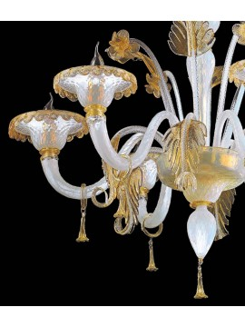 Lampadario murano di venezia oro 24k 6 luci made in italy 7991 6