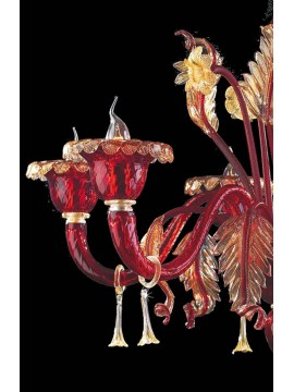 Murano chandelier of venice red 24k gold 6 lights made in italy 7991 6