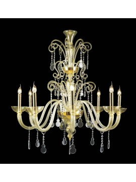 Murano chandelier in Venice 24k gold 8 lights made in italy 7871 8