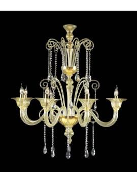 Lampadario murano di venezia oro 24k 8 luci made in italy 7870 8
