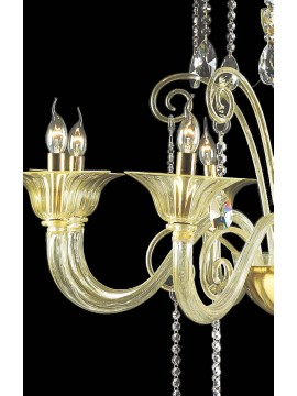 Murano chandelier in Venice 24k gold 8 lights made in italy 7870 8
