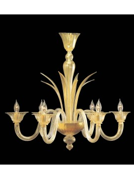 Murano chandelier in Venice 24k gold 6 lights made in italy 7376 6