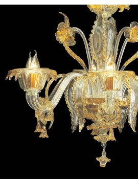 Murano chandelier from Venice 6 amber lights made in Italy 6823 6