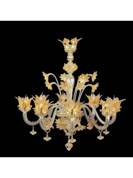 Murano chandelier in Venice 24k gold 8 lights made in italy 7653 8