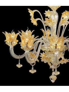 Lampadario murano di venezia oro 24k 8 luci made in italy 7653 8