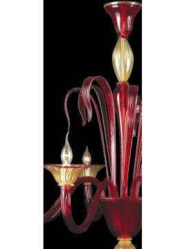 Murano chandelier of red 24k gold 8 lights made in italy 7567 8
