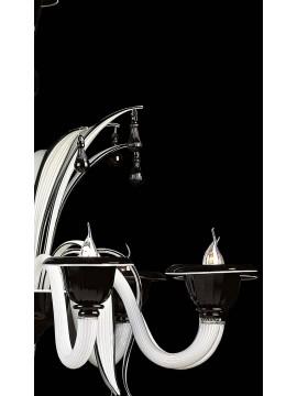 Lampadario murano di venezia nero 8 luci made in italy 7429 8