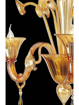 Murano chandelier from Venice 3 amber lights made in italy 5800 3