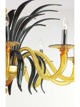 Murano chandelier of Venice amber-black 10 lights made in italy 7886 10