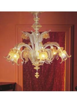 Lampadario murano di venezia ambra 6 luci made in italy 7494 6
