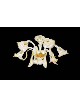 Murano chandelier from Venice 6 amber lights made in italy 7781 6