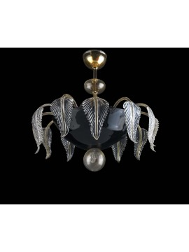 Murano ceiling lamp of Venice gold and black 6 lights made in italy 8082 6