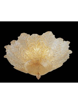 Murano ceiling lamp of venice amber 6 lights made in italy 7173 pl12