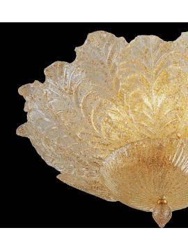 Plafoniera murano di venezia ambra 6 luci made in italy 7173 pl12