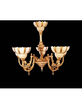Classic chandelier in satin gold brass 5 lights BGA 1005-5
