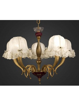 Classic chandelier in gold brass and ceramic 5 lights BGA 1121-5
