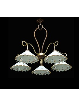 Rustic wrought iron and ceramic chandelier 5 lights BGA 1447-5