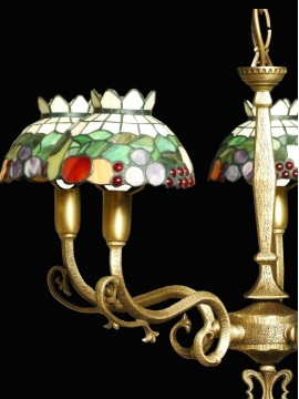 Classic chandelier in brass and tiffany glass 5 lights BGA 1468-5