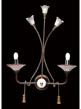 Classic 2 lights sconce in wrought iron and BGA 1428 ceramic