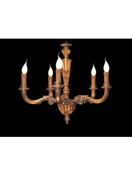 Classic 5 lights gold-silver leaf wood chandelier BGA 1578-5