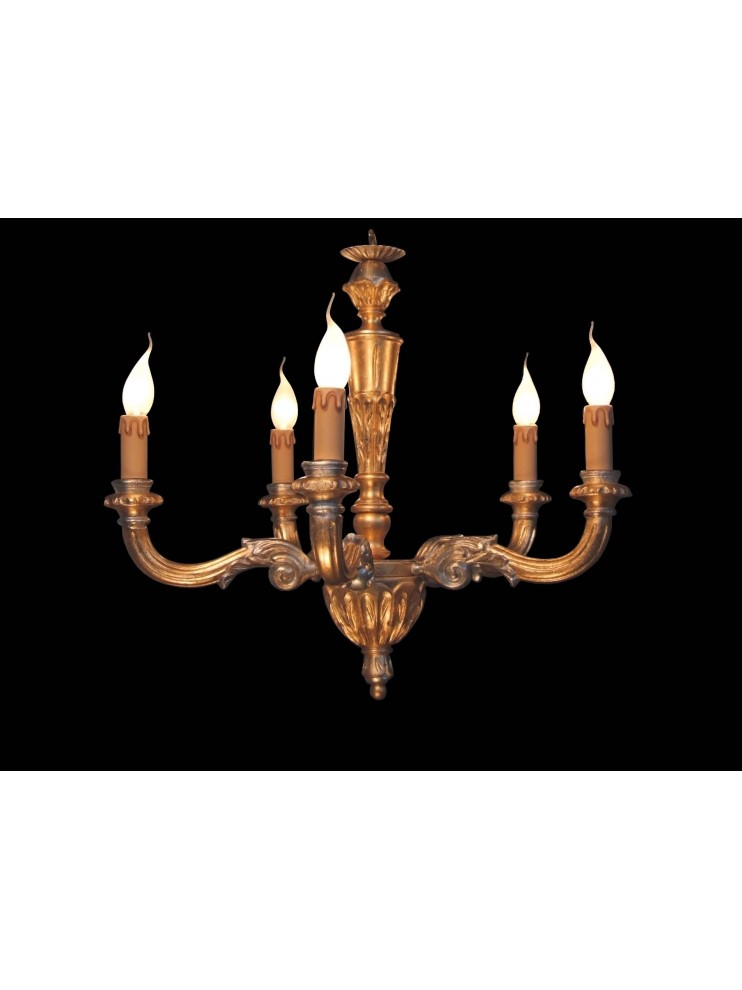Classic 5 lights gold-silver leaf wood chandelier BGA 1578-5