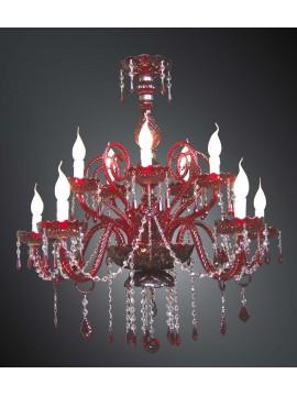 Lampadario in cristallo rosso design swarovsky 10 luci BGA 1599-5-5