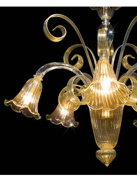 Classic Murano chandelier 24k gold crystal 5 lights BGA 1642-5