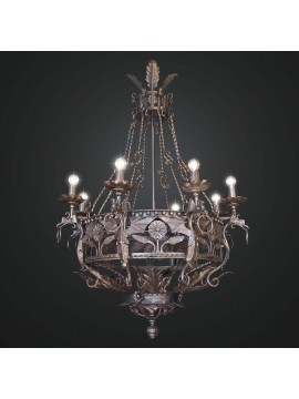 Rustic forged wrought iron chandelier with 8 lights BGA 1748-8