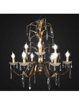 Classic swarovsky design wrought iron chandelier 9 lights BGA 1754-9