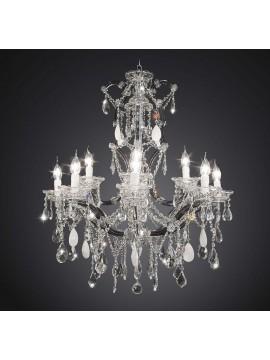 Lampadario classico in cristallo nero design swarovsky 12 luci BGA 1770-8-4