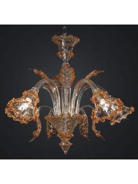 Classic Murano chandelier venice amber crystal 5 lights BGA 1787-5