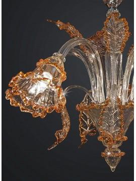 Lampadario classico murano venezia cristallo ambra 5 luci BGA 1787-5