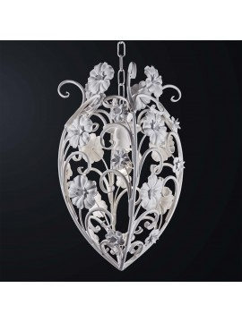 Contemporary white wrought iron chandelier 1 light BGA 3080-s1