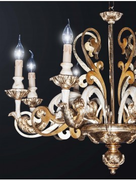 Classic 6 lights gold leaf wood chandelier BGA 3090-6