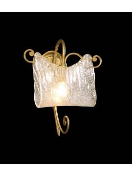Applique classico 1 luce in ferro battuto oro antico  BGA 1222
