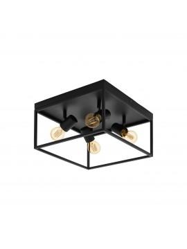 Plafoniera moderna vintage minimal nero 4 luci GLO 98334 Silentina