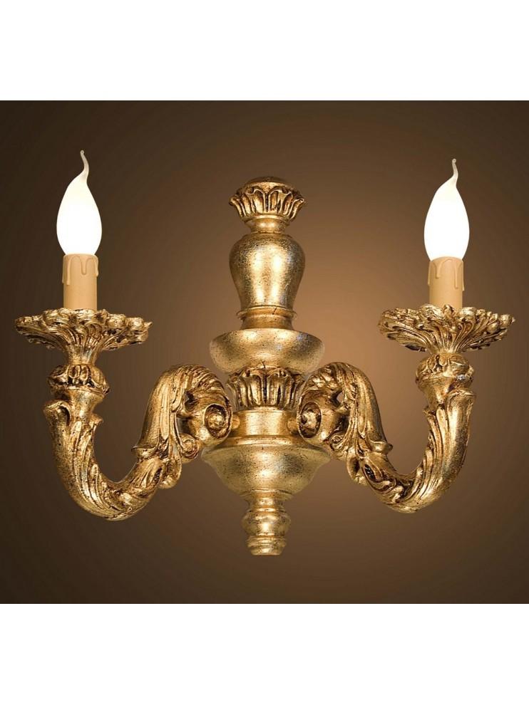 Applique classico 1 luce in legno foglia oro  BGA 1644