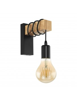 Rustic vintage wooden wall light 1 light GLO 32917 Townshend