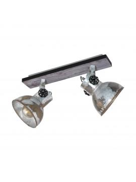 Rustic vintage spotlight ceiling light 2 lights GLO 49649 Barnstaple