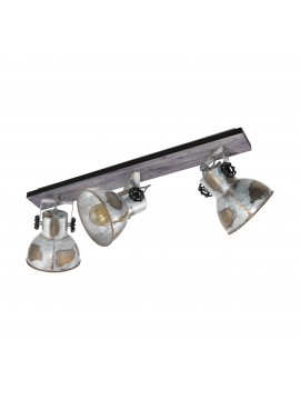 Rustic vintage 3 spot lights ceiling light GLO 49652 Barnstaple