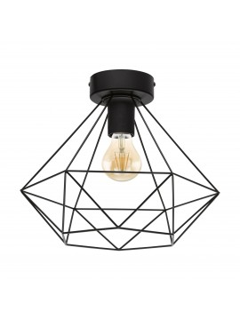 Plafoniera moderna vintage design nero 1 luce GLO 43004 Tarbes