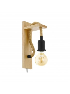Rustic vintage rope and wood wall light 1 light GLO 43197 Rampside