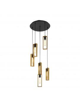 6 lights GLO 49549 Littleton vintage modern wooden chandelier