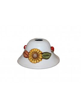 Spot ceiling lamp d.18 in wrought iron and sunflower ceramic 1 light coll. Terry