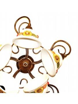 Plafoniera classica in ferro battuto e ceramica girasole 5 luci coll. Terry