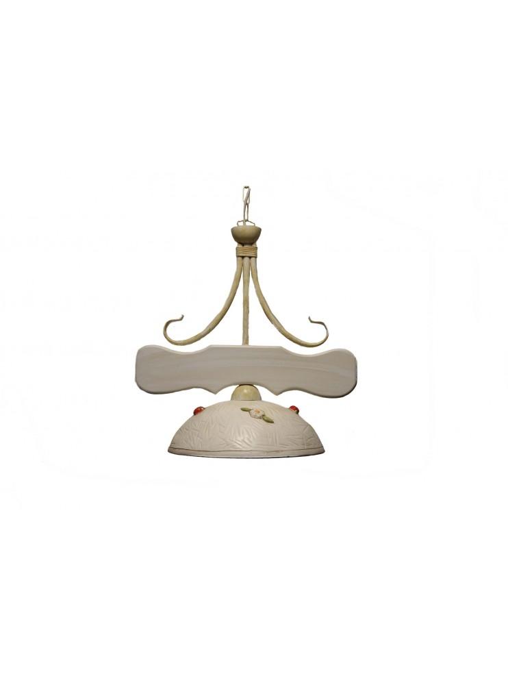 Classic sunflower wood and ceramic chandelier 1 light coll. Greta Panna